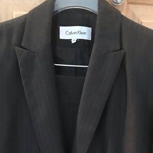 Calvin Klein Grey Pinstripe Skirt Suit